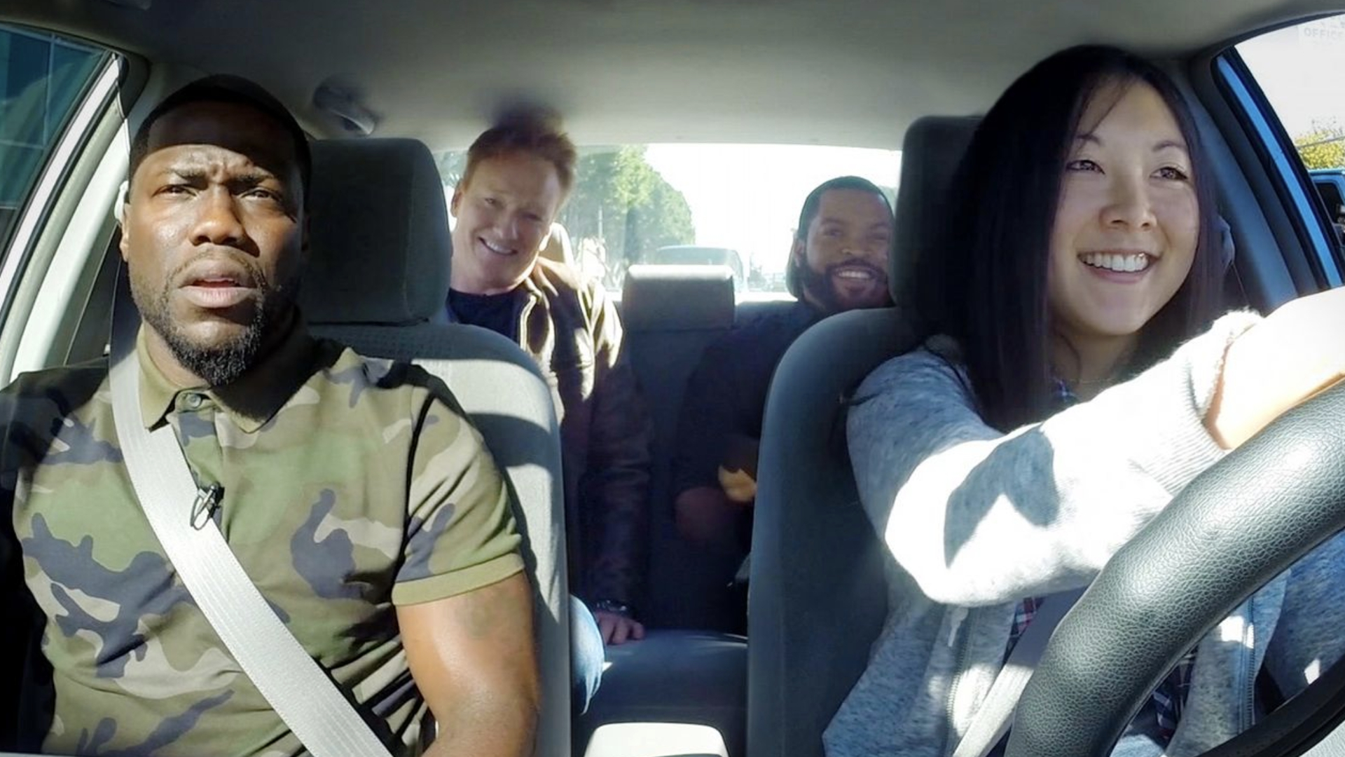 Conan O'Brien, Ice Cube and Kevin Hart Smoke Weed with Student Driver!